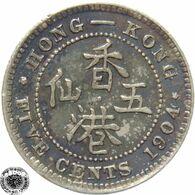 LaZooRo: Hong Kong 5 Cents 1904 XF - Silver - Hongkong