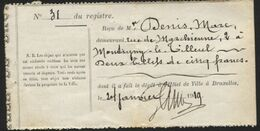 OBJET TROUVE - Reçu De Dépot 2 Billets De 5fr à L'hôtel De Ville De Bruxelles 1919. Original. - Sonstige