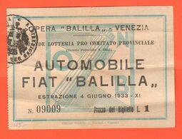 Venezia Pro Balilla Biglietto Lotteria Estrazione Auto Car Fiat Balilla 1933 - Lottery Tickets