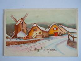 Gelukkig Nieuwjaar Winter Landschap Molen Moulin Paysage Hivernal Gelopen België Coloprint 3477 - Neujahr