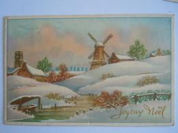 Joyeux Noël Winter Landschap Molen Moulin Paysage Hivernal Gelopen 1955 België - Weihnachten