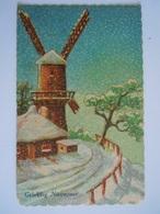 Gelukkig Nieuwjaar Winter Landschap Molen Moulin Paysage Hivernal Gelopen P. J. Bruxelles Coins Abimés Hoeken Beschadigd - Neujahr