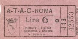 BIGLIETTO BUS ATAC ROMA LIRE 6 (BY30 - Bus