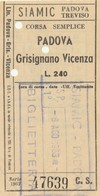 BIGLIETTO BUS PADOVA GRISIGNANO VICENZA L.240 (BY636 - Europa