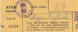 ABBONAMENTO ATAN NAPOLI UNA LINEA LIRE 3000 (BY1490 - Europe