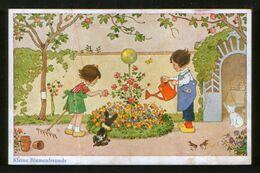 Germany Old Postcard AK Fritz Baumgarten. Kleine Blumenfreunde - Children, Dog, Cat - Baumgarten, F.