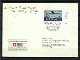 """SUISSE Poste Aérienne 1947: LSC Illustrée De Genève Pour Chaux-de-Fonds Via """"Washington"""" Le ZNr. F42,  Obl. CAD Spéciaux - Other Documents"""