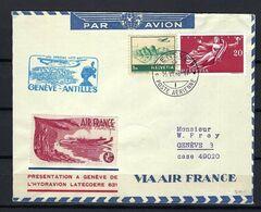 """SUISSE 1948: LSC De Genève Pour Genève Via ''Vol Postal Genève-Antilles"""" Avec Les ZNr. F32,283,  Obl. CAD - First Flight Covers"""