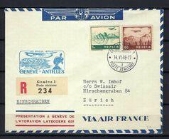 """SUISSE 1948: LSC Rec. De Genève Pour Zürich Via ''Vol Postal Genève-Antilles"""" Avec Les ZNr. F30,F32,  Obl. CAD - Airmail"""