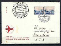 """SUISSE 1954: LSC Rec. De Zürich Pour Dover,Ohio (USA) Via ''Vol Genève-Sao Paulo"""" Avec Paire Du ZNr. F44c,F32,  Obl. CAD - Airmail"""