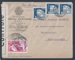 Letter Censored France 1941. 2WW. Bertrand Bookstore. 3 Stamps Leziria Do Ribatejo. Campino. Lusitano Horse. Gil Vicente - 1910-... République
