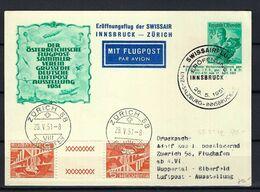AUTRICHE 1951: CP Illustrée De Innsbruck Pour Vienne Via ''Vol Innsbruck-Zürich'', TP Autrichiens Et Suisses, Obl. CAD - Luftpost
