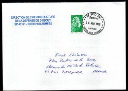 Enveloppe Oblitération SPID 262  DJIBOUTI Sodexo La Poste Du 26/08/2020 Pour La France - Marcophilie (Lettres)