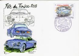 Saint QUENTIN 02 Aisne Journée Du Timbre 2018 Alpine Renault - Bolli Commemorativi