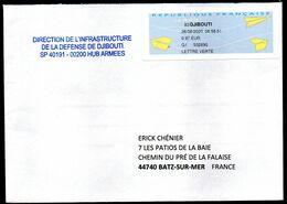 Enveloppe Avec Vignette D'affranchissement De Guichet MOG SPID DJIBOUTI Du 26/08/2020 Pour France - 2000 Type «Avions En Papier»