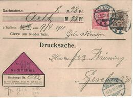 Germania 10 Pfg. - Perfin Lochung Gebrüder Reintjes Cleve - Nachnahme Gescher 1910 [Milch & Kultur] - Covers & Documents