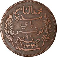 Monnaie, Tunisie, Muhammad Al-Nasir Bey, 10 Centimes, 1916, Paris, TTB, Bronze - Tunisia