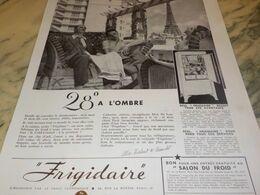 ANCIENNE PUBLICITE FRIGO FRIGIDAIRE 28 DEGRES A L OMBRE 1934 - Technical