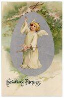 Joyeuses Pâques. Petit Ange Ailé Cueillant Des Rameaux Fleuris. ( Symbole De Printemps ) - Pâques