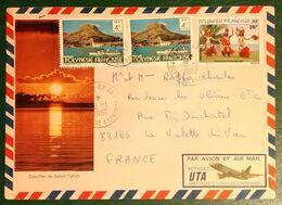 Timbre YT 165 Folklore Sur Lettre AVION + 2x4fr Raiatea + Cachet PAPEETE - R.P.- AN.1 POLYNESIE FR.. 1982 - Oceania (Other)
