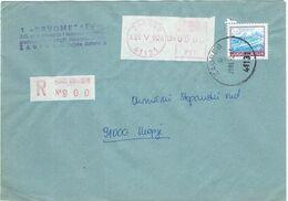 Yugoslavia - Croatia Zagreb 1990 Registered Label,meter Stamp - 1945-1992 Socialist Federal Republic Of Yugoslavia
