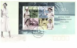 (N 34) Australia - Cocos Island Mini-Sheet On FDC Cover - 2004 - Commemorating Queen Elizabeth Island Visit In 1954 - Kokosinseln (Keeling Islands)