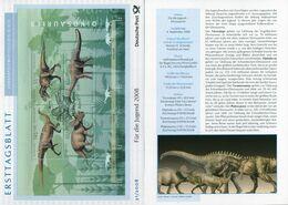 BRD - 2008 ETB 31/2008 - Mi Block 73 = 2687 /2690 - Dinosaurier, Jugend 08 - FDC: Bögen