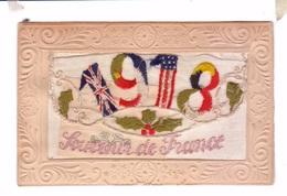 Carte Brodee Embroidered Ww1 Guerre 14 18 Souvenir De France Drapeau Allies Allied Flags - Ricamate