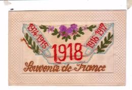 Carte Brodee Embroidered Ww1 Guerre 1914 1915 1916 1918 Souvenir De France Fleurs Flowers - Ricamate