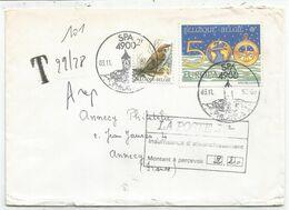 BELGIQUE 2FR OISEAU + 500FR EUROPA LETTRE COVER SPA 03.11.1982 + GRIFFE TAXE MANUSCRITE 2.FR20 - Lettres Taxées
