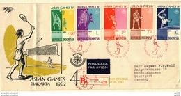 INDONESIA  FDC ASIAN GAMES IV Ping Pong Volley Tennis Badminton  Basket-ball  DJAKARTA 24 VI  1962 Rec Par Avion - Indonesien