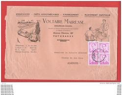 L Ill Voiture Assurances Voltaire Mairesse Av Fénelon Paturages  4TP Lunettes Baudouin Obl MONS  8 XII 1959  Bon Tarif - Macchine Per Obliterare