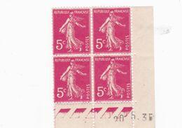 Coin Daté  Semeuse  N°278 B 3 ème Tirage 2ème Partie Du 6  Au 23 Mai 1935 Planche F Neuf Sans Charnière - 1906-38 Semeuse Camée