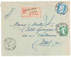REIMS DIEU LUMIERE Lettre Recommandée 75c Pasteur Bleu 10 C Vert Semeuse Yv 159 177 Ob 23 4 1925 - Covers & Documents