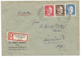 C235 - STRASSBURG (ELS) SCHILTIGHEIM - 1942 - Recommandé Tricolore Timbre Hitler - Entête Notaire LOCKER à BISCHHEIM - - Alsace Lorraine
