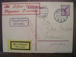 1927 Gleiwitz Mit Luftpost Flugpost Air Mail Cover Deutsches Reich Allemagne LuftPostkarte Postflug - Covers & Documents