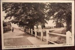 Cpa De 1943, Andernos Les Bains - Gironde- 33  Place De L'Eglise, Animée, éd Cimbier (CIM), écrite, Timbre - Andernos-les-Bains