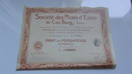 MINES D'ETAIN DE CAO BANG     (tonkin) - Non Classificati