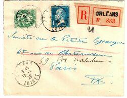 ORLEANS Loiret Lettre Recommandée 1 F Pasteur 5c Blanc Yv 111 179 Ob 13 1 1926 - Covers & Documents