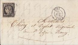 2 Lettres Et Devant De Lettre Obl Toul Les 14 Juil 49 Et 15 Mai 50 Sur 20c Noir Céres N°3 (pour Nancy Et Tonnerre) - 1849-1850 Ceres