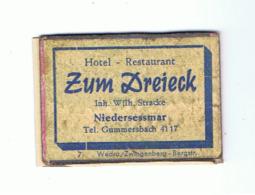 "Façade De Boîte D'allumettes  - Publicité - Hotel / Restaurant "" Zum Dreieck "" NIEDERSESSMAR(RMT) - Scatole Di Fiammiferi - Etichette"