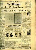 Le Monde Des Philateliste 1957 Dec,poste Militaire Belgique,oblit. Temp 1953,mandat Bon De Poste,Reunion Obliteration - Francese
