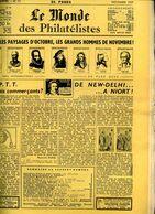 Le Monde Des Philateliste 1957 Nov,Semeuse Roulette,obl.1952,Réunion Obliteration,mandat Bon De Poste,20c Empire Lauré - Francese