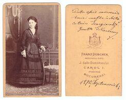 Romania FOTO CDV Franz Duschek J. Selle Domnitorului Carol I Strada Noua Bucuresci 1870 CUT TAIATA - Lady Atelier Photo - Rumänien