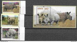 KENYA, 2019, MH, FAUNA, RHINOS, WHITE RHINOCEROS, 3v+S/SHEET - Neushoorn