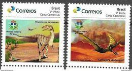 BRAZIL, 2020, MNH, PREHISTORIC FAUNA, DINOSAURS, 2v, PERSONALIZED - Postzegels