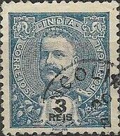 PORTUGUESE INDIA 1898 King Carlos - 3r - Blue FU - Inde Portugaise