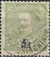 PORTUGUESE INDIA 1898 King Carlos - 4 1/2 R - Green FU - Inde Portugaise