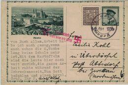 Leipa Postamt - Prag Schloss Hrad - Ganzsache Masaryk - Sudetenland Kehrt Heim Ins Reich 1938 - Covers & Documents