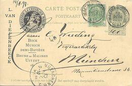 Belgique Carte Postale Entier Postal Oblitéré, Thème Bière, Beer, Bier. Brasserie Le Chevalier Marin - Bier